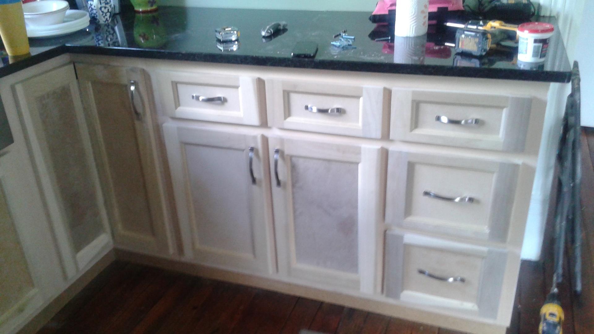 unfinished base cabinets