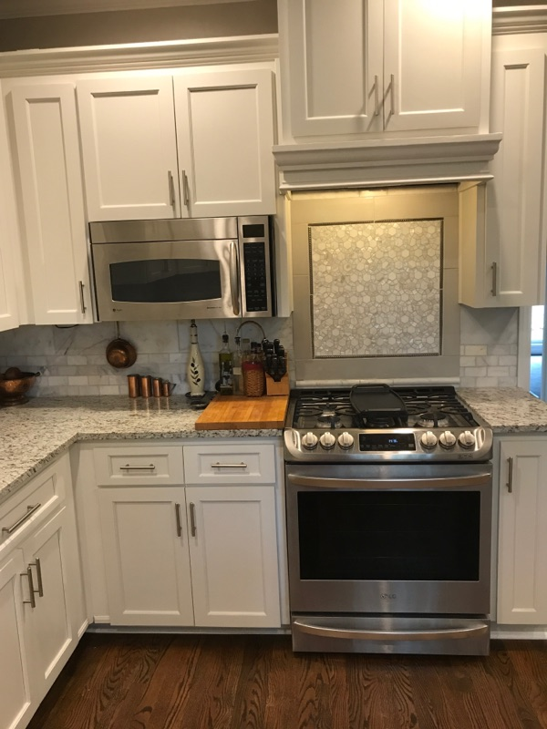 finished kitchen painted ivory lace
